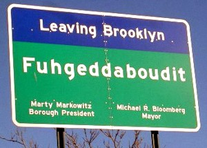 Real Highway Sign on a bridge leaving Brooklyn